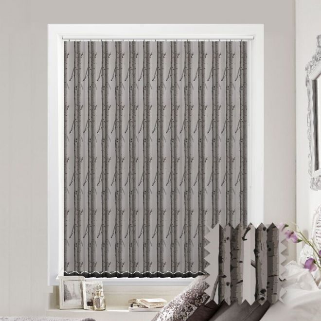 Made to Measure Woodland Silver Birch Tree Pattern Vertical Blind - Just Blinds